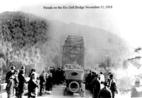 Parade on the Rio Dell to Scotia bridge November 11, 1918 Humboldt County California