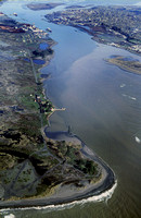 Aerial of Humboldt bay 1982 of north jetty showinf coast guard stationa