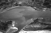 Aerial - B&W of jetties to king salmon 1982 copy