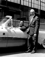 Jackie Gleason Comedian poses in his new Buick