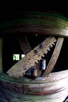 Super Wide View of old saw and beer cans