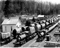 3 trains with one log load at Excelsior Lumber Company
