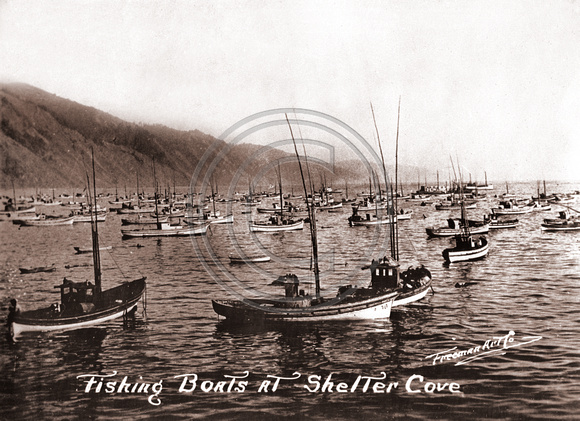 Shelter Cove #00125 Fishing Fleet at the Cove Sepia Toned copy for Zenfolio