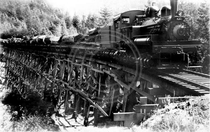 The old photo guy historical logging train on trestle