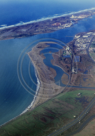 Aerial of Elk river spit & Samoa in the background Circa 1991