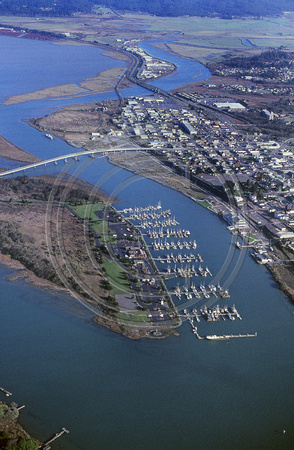 Aerial over Woodley Island and bay 1991